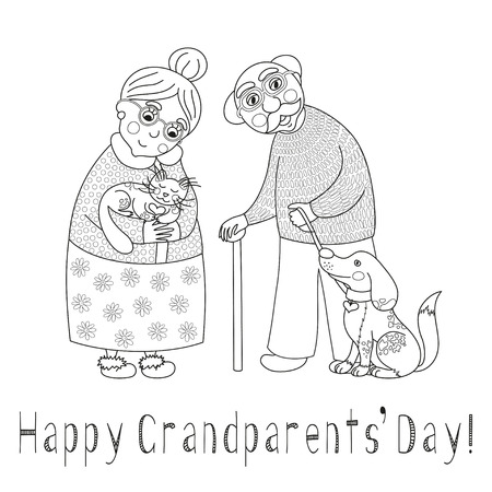 happy mature couple: Happy grandparents day card. Poster with cute darling grandmother and grandfather, granny and grandpa, their cat and dog on leash, vector illustration, coloring book page for children