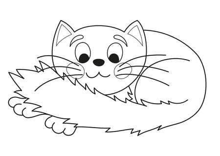 plump: Cartoon plump kitty, vector illustration of funny cute cat with kind muzzle, cat smiling, stretching and lying comfortably curtailed, coloring book page for children