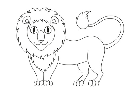 modest: Cute modest cartoon lion with fluffy mane and kind muzzle, lion smile and look. Vector illustration, coloring book page for children