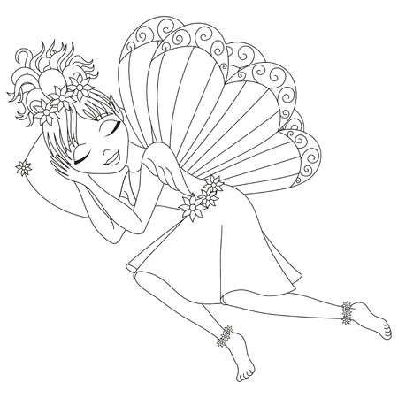 pixy: Cute fairy in dress with wings is sleeping on pillow, vector illustration, coloring book page for children Illustration