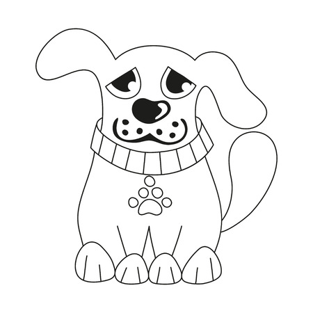 doggy: Cartoon puppy, vector illustration of cute dog wearing collar with pet paw tag, sad doggy, coloring book page for children Illustration