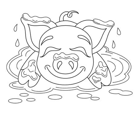 Vector illustratie van leuk varken in een plas, grappige piggy staande op vuil plas, kleurboek pagina voor kinderen
