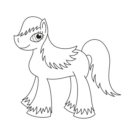 pony tail: Vector illustration of cute horse, pony with a magnificent mane and tail, coloring book page for children