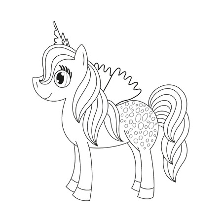 pony tail: Vector illustration of cute horse princess, royal pony with a magnificent mane and tail, fairy foal with wings, coloring book page for children