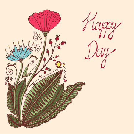 red currant: Happy day. Vintage colorful background with ancient flowers like portulaca, poppy or dandelion, plantain, red currant branch in hand drawn style, hand-drawn vector illustration