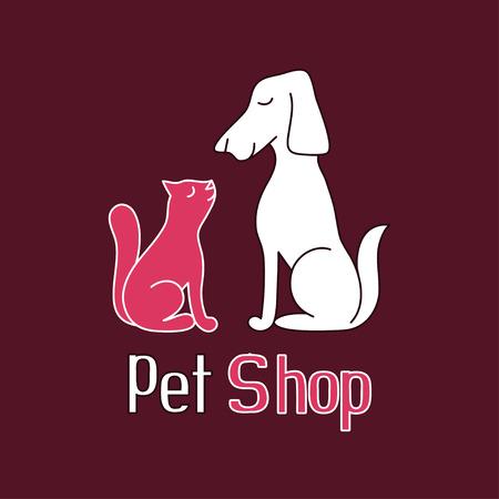 shop tender: Cat and dog are best friends, sign for pet shop  , vector illustration Illustration
