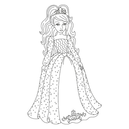 Beautiful princess, gorgeous princess in shining dress with spangles, vector illustration, coloring book page for children Illustration