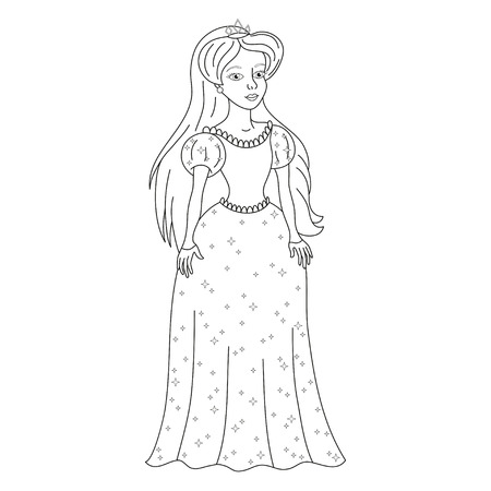 coloring book page: Beautiful princess, gentle princess in shining dress, vector illustration, coloring book page for children