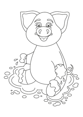 coloring book page: Vector illustration of cute pig in a puddle, funny piggy sits on dirt puddle, coloring book page for children