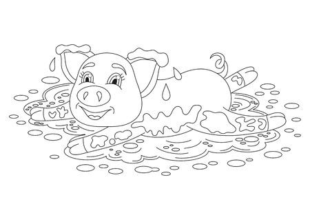 Ilustración Del Vector Del Cerdo Lindo En Un Charco, Divertida ...