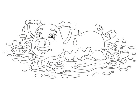 coloring book page: Vector illustration of cute pig in a puddle, funny piggy lying on dirt puddle, coloring book page for children