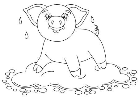 Dibujo Para Colorear. Color Me: Cerdo. Cerdito Lindo Se Encuentra Y ...