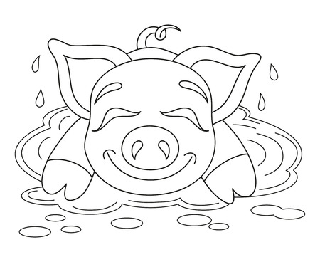 Vector illustration of cute pig in a puddle, funny piggy resting on water puddle, coloring book page for children Illustration