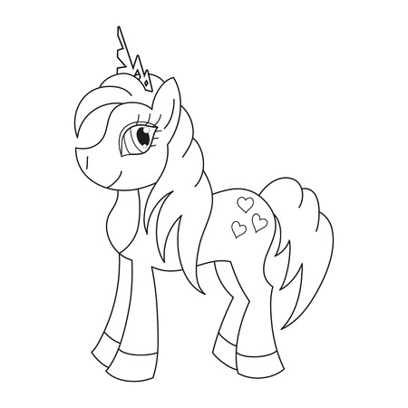 pony tail: Vector illustration of cute horse princess, royal pony with a magnificent mane and tail, coloring book page for children