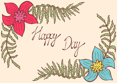 Happy day. Vintage colorful background with ancient flowers like narcissus and fern branch in hand drawn style, hand-drawn vector illustration