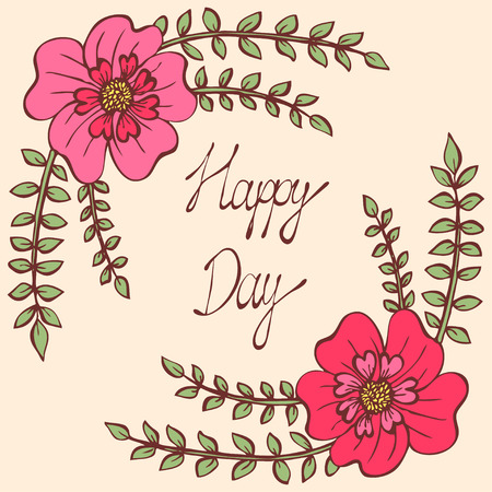 Happy day. Vintage colorful background with ancient flowers like portulaca, poppy or tagetes and alder branch in hand drawn style, hand-drawn vector illustration Illustration