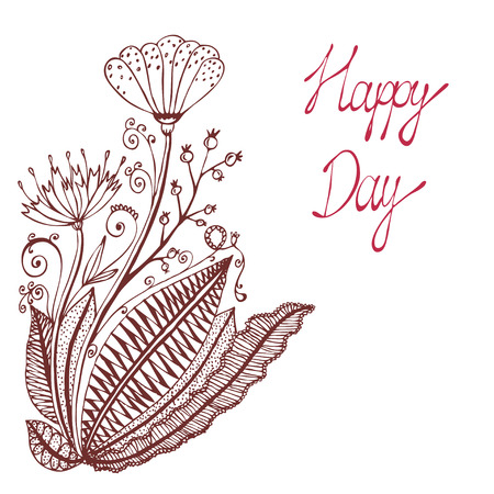 Happy day. Vintage background with ancient flowers like portulaca, poppy or dandelion, plantain, red currant branch in hand drawn style, hand-drawn vector illustration