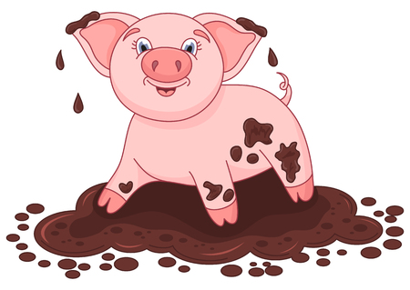 Vector illustration of cute pig in a puddle, funny piggy standing on dirt puddle