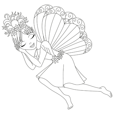 pixy: Cute fairy in dress with wings is sleeping, vector illustration, coloring book page for children