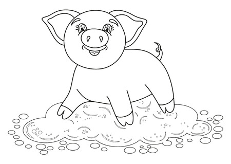 Vector illustration of cute pig in a puddle, funny piggy standing on dirt puddle, coloring book page for children