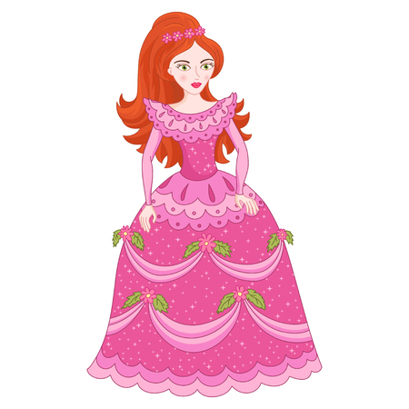 Illustration of beautiful red-haired princess, cute princess in shine elegant pink dress with spangles, vector illustration Illustration
