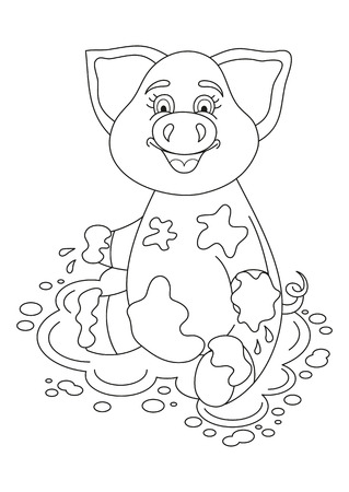 Vector illustration of cute pig in a puddle, funny piggy sits on dirt puddle, coloring book page for children