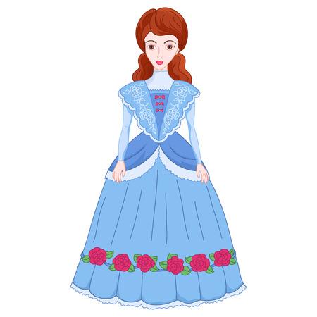 Illustration of beautiful brunette noblewoman in ancient dress 19 of a century, cute lady in elegant cyan attire or princess on walk, vector illustration Illustration