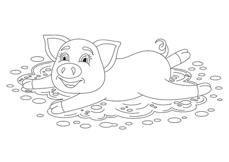 puddle: Vector illustration of cute pig in a puddle, funny piggy standing on dirt puddle, coloring book page for children