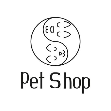 shop tender: Cat and dog tender embrace like Yin Yang, sign for pet shop  , vector illustration