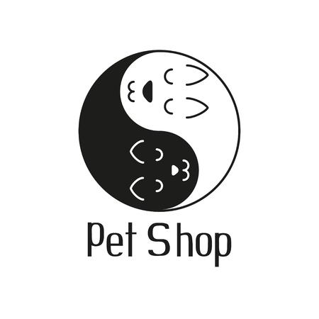 Cat and dog tender embrace like Yin Yang, sign for pet shop  , vector illustration