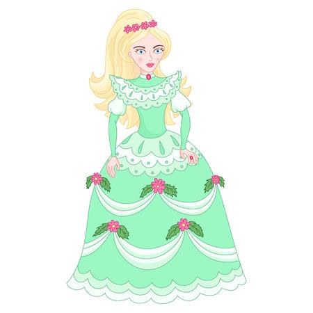Illustration of beautiful blonde princess, cute princess in elegant green dress with flowers, vector illustration