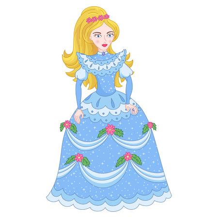 Illustration of golden blonde princess, cute princess in shine elegant cyan dress with spangles, illustration