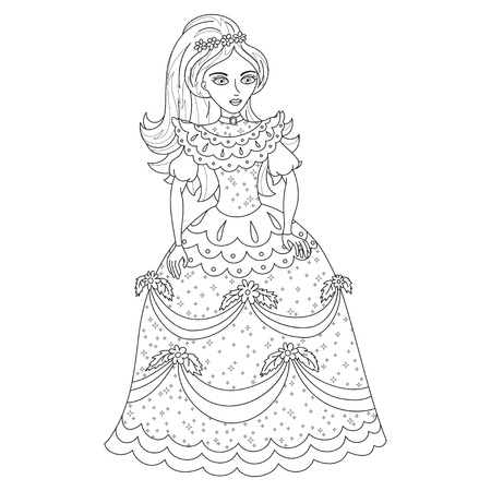 princess, cute princess in shining dress with spangles, illustration, coloring book page for children