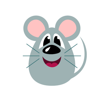 Cute cartoon mouse, funny rat, illustration