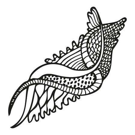 Fantasy floral pattern in tattoo style, illustration 일러스트
