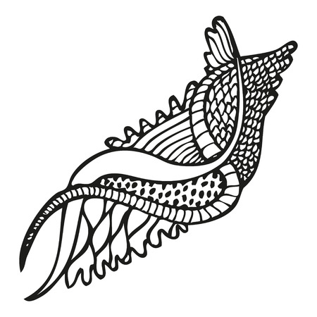 Fantasy floral pattern in tattoo style, illustration Illustration
