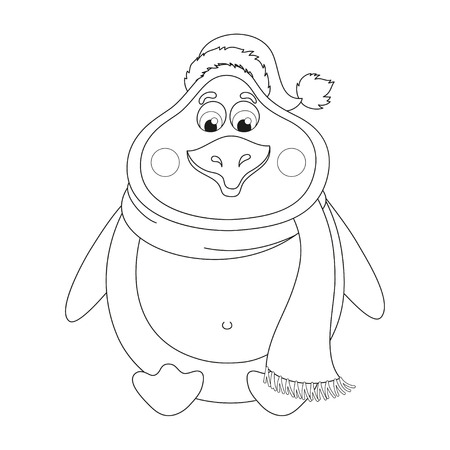 New Year's cheerful cute penguin in winter hat and scarf