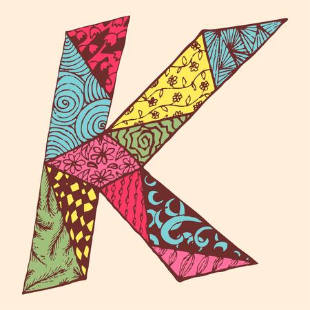 Vintage monogram K. Doodle colorful alphabet character with patterns.