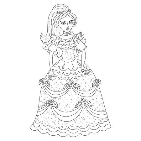 Beautiful princess cute princess in shining dress with spangles
