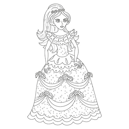 Beautiful princess in shining dress with spangles