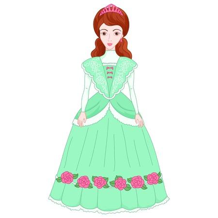 Illustration of beautiful brunette princess in ancient green dress Illustration