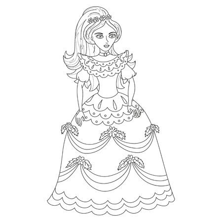 Beautiful princess in elegant dress Illustration