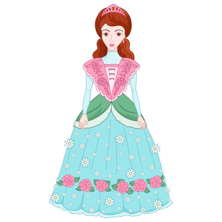 Illustration of beautiful brunette princess in ancient dress