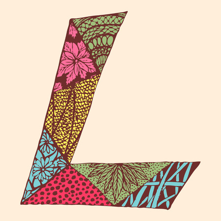 Vintage monogram L. Doodle colorful alphabet character with patterns.