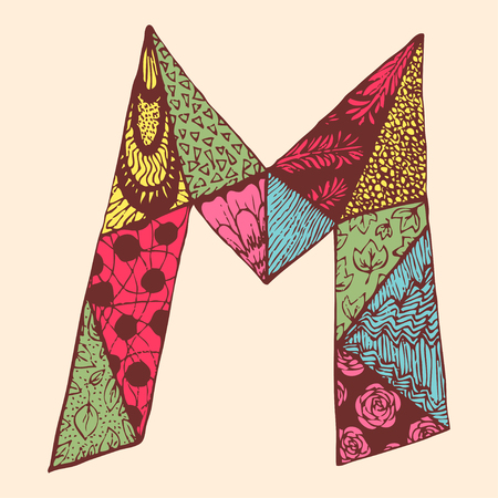 Vintage monogram M. Doodle colorful alphabet character with patterns. Illustration