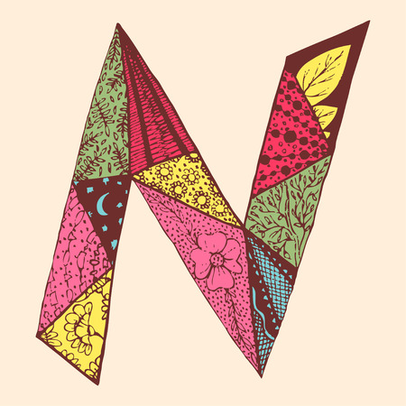 Vintage monogram N. Doodle colorful alphabet character with patterns.
