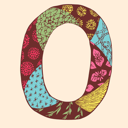 Vintage monogram O. Doodle colorful alphabet character with patterns.