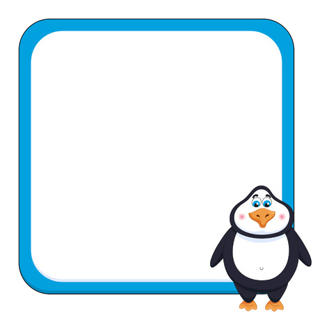 School background with cheerful cute penguin funny frame and birdie