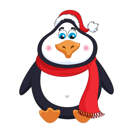 New Years cheerful cute penguin in winter red hat and scarf sits Illustration