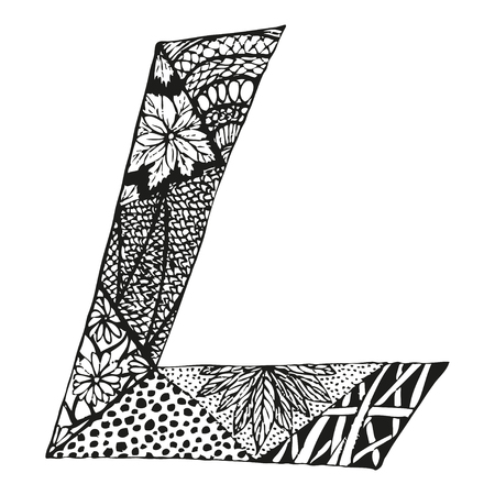 Vintage monogram L. Doodle alphabet character with patterns or coloring book page. 일러스트